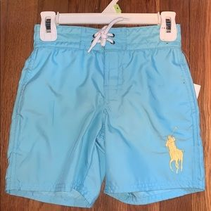 Boy's Polo by Ralph Lauren Blue Swim Trunks